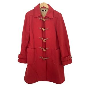J. Crew Womens Red Wool Toggle Duffle Trench Coat